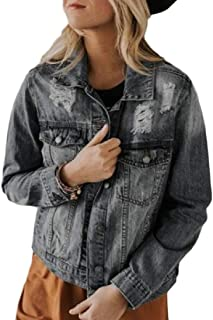 desolateness Women Button up Ripped Holes Long Sleeve Pockets Denim Trucker Jacket Coat