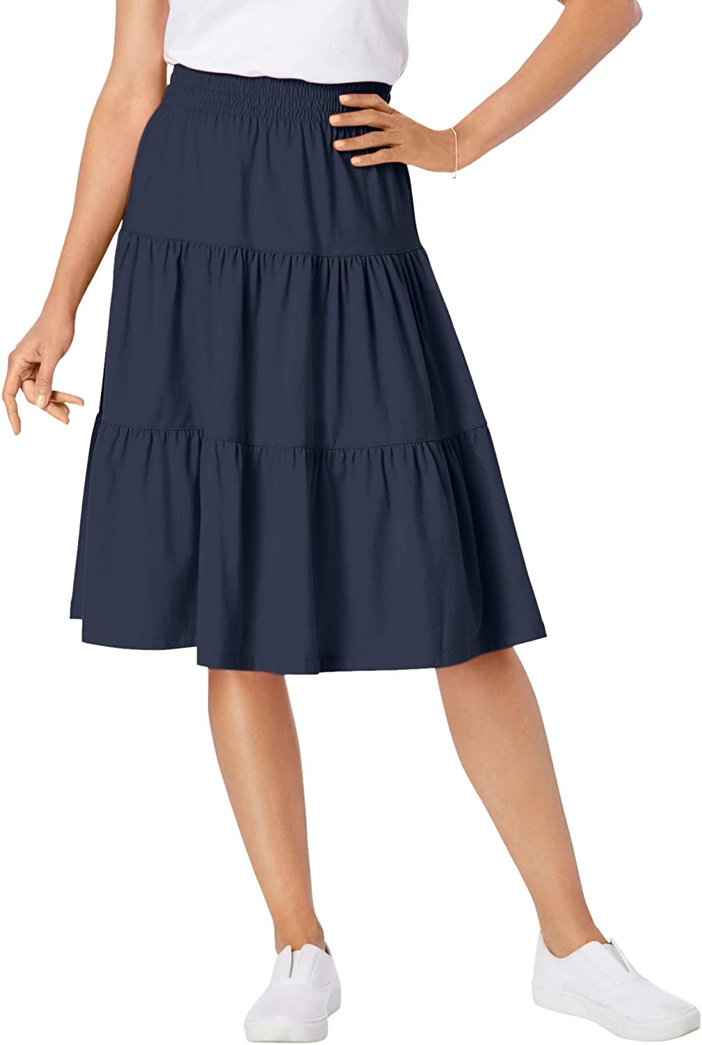 Woman Within Women's Plus Size Jersey Knit Tiered Skirt
