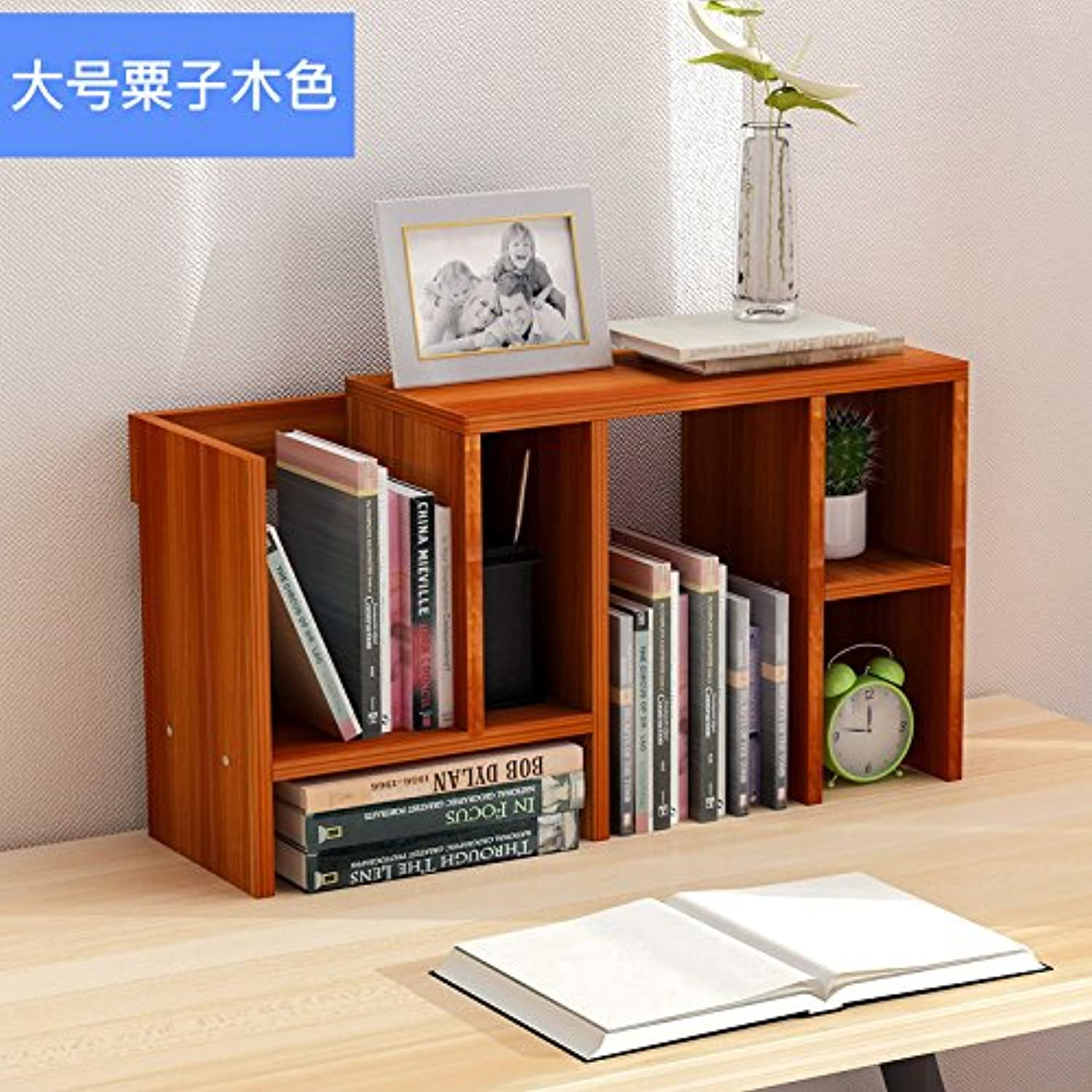 Creative bookshelves easy rack Small Office admitted rack scalable desktop bookcase , large chestnut wood color