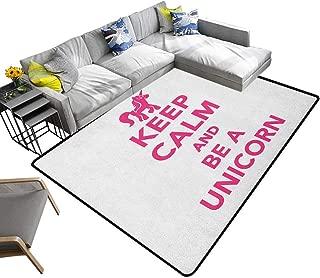 Keep Calm Indoor Floor mat Keep Calm and Be a Unicorn Text with Magical Mythological Fairytale Pony Animal 70