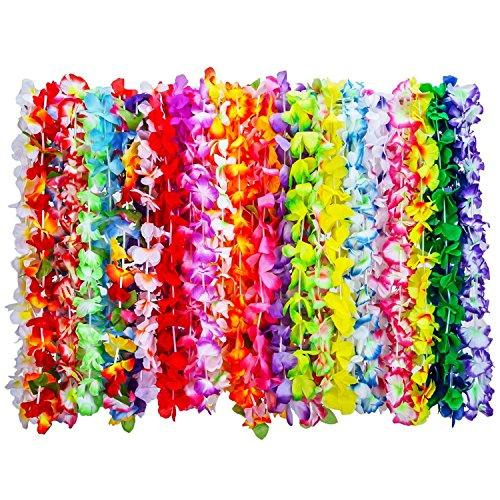 YW-WINN 36 Pcs Hawaiian Lei, Seidenblumen Halskette Armband, Blume Garland Party Favor für Beach Theme