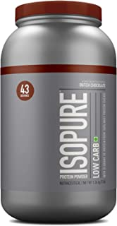 Isopure Low Carb 100% Whey Protein Isolate Powder with 25gm Protein per serve - 3 lbs, 1.36 kg Dutch Chocolate