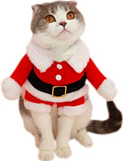 Bolbove Pet Christmas Santa Claus Suit Costume for Small Boy Dogs & Male Cats Jumpsuit Winter Coat Warm Clothes