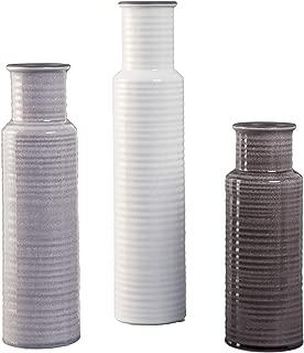 Ashley Furniture Signature Design - Deus Vase - Set of 3 - Casual - Glazed Ceramic - Gray/White/Brown
