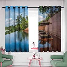 HCCJLCKS Half Blackout Curtains Sofa in Water Hotel Furniture Resort Vacation Seascape Travel Holiday Privacy Protection Redwood Green Sky Blue W55 x L72