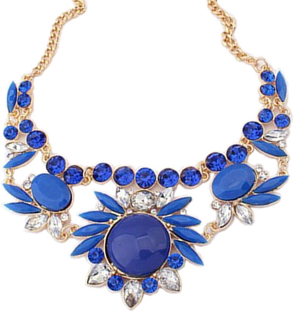 Zthread Women Rhinestone Statement Necklaces Crystal Pendants Choker Necklace Double Collar Fashion Accessories