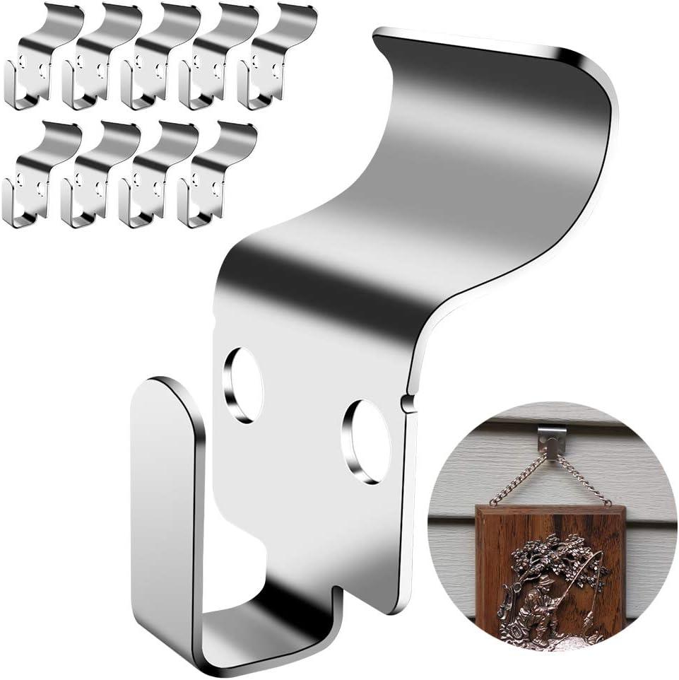 خطافات جانبية من الفينيل غير الفتحات - شماعة متينة من الفولاذ المقاوم للصدأ بدون فتحات حل سهل وسريع لتعليق الأشياء الزخرفية على الجانب المصنوع من الفينيل لتزيين المناسبات والعطلات (10 عبوات)