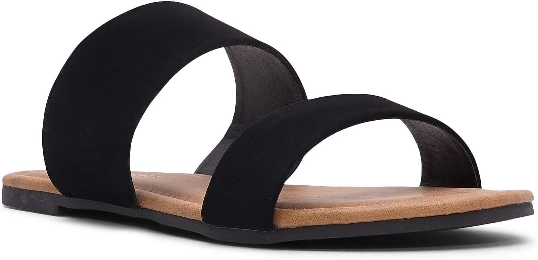 Charles Albert Two Strap Sandal Slide On Flip Flop (6 M US, Black)