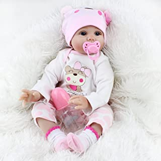 PEACE BIRD Reborn Baby Doll Realistic Baby Dolls Vinyl Silicone 22inch 55cm Magnetic Lifelike Cute Lovely Pink Sleeping Doll for 3 Age+