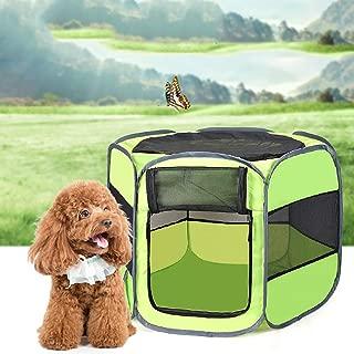 Tela Plegable Juego para Mascotas Pen Puppy Dog Cat Rabbit Guinea Pig Playpen Run Cage para en Exterior/Interior (Verde)