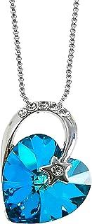 MOONSTONE Fashion Pendant For Women Sterling Silver Sparkling Meteor Heart Swarovski Crystal Elements Chain