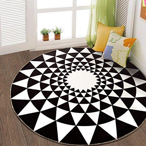 Nordic Circular Carpet Door Salon de la chambre à coucher (Couleur : Noir, taille : 160 * 160cm)