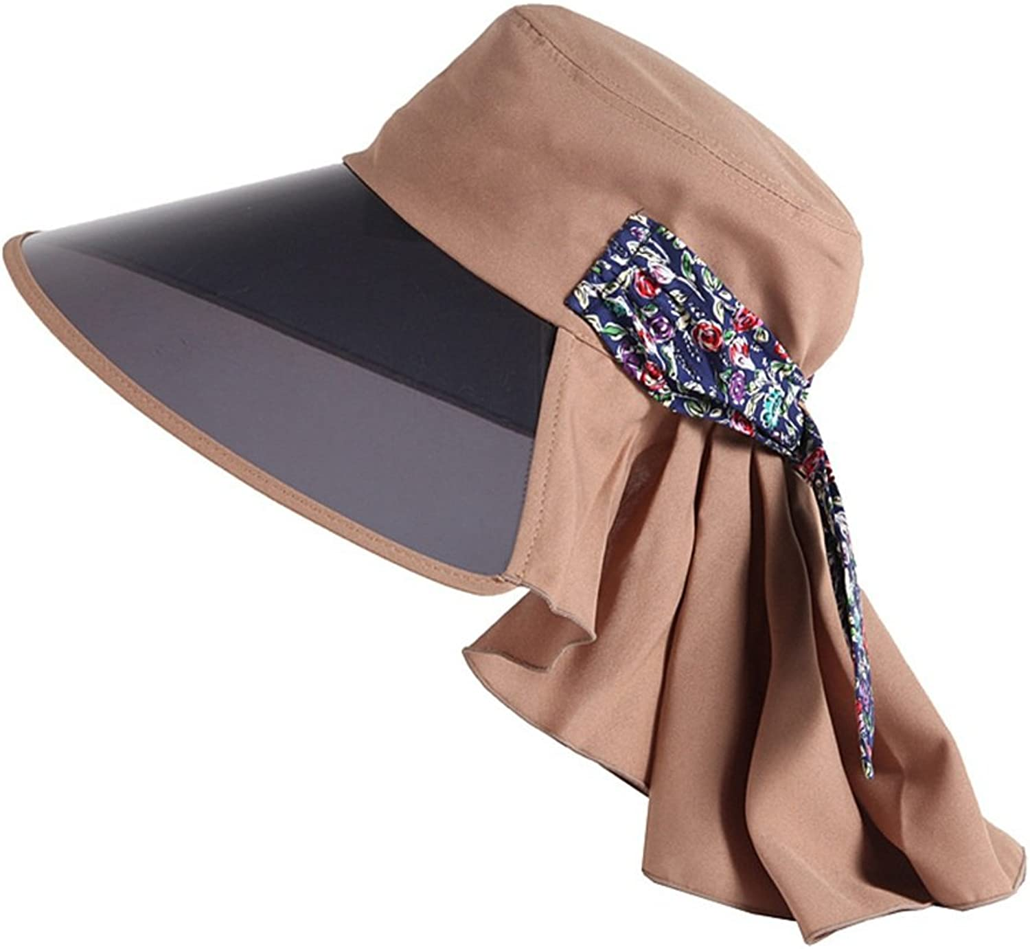 Hat Lady's Sunshade Summer Outdoor Sun Hat Uv Sun Hat Beach Hat with Large Eaves (color   Brown)