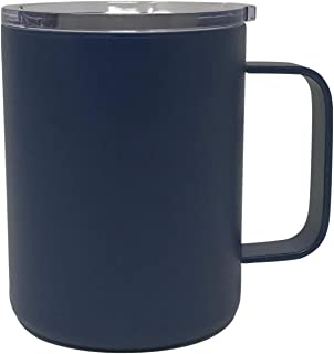CSBD 14 Ounce Coffee Mug Stainless Steel, Unbreakable Double Wall Vacuum Sealed Insulated, With Lid, Straw and Cleaning Brush, Multiple Colors (Navy Blue, 1 Pack)