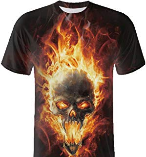 F_Gotal T-Shirt for Mens, Men's T-Shirts Short Sleeve Big and Tall Flame Skull 3D Printing Tees Blouse Tops