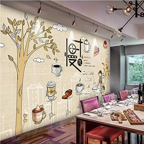 Slow Time Afternoon Tea Small Fresh Cafe Tooling Background Wall Paper Cold Drink Dessert Shop Wallpaper Simple Mural-400Cmx280Cm