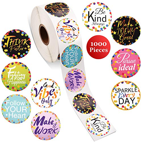 1000 Pieces Confetti Positive Sayings Stickers Colorful Positive Quote Stickers Removable Confetti Stickers Self Adhesive Roll Stickers for Classroom Bulletin Board