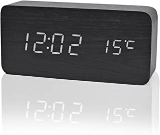iitrust  - Reloj Digital Despertador de Madera con Control de Sonido y LED Brillo de la Pantalla, Negro