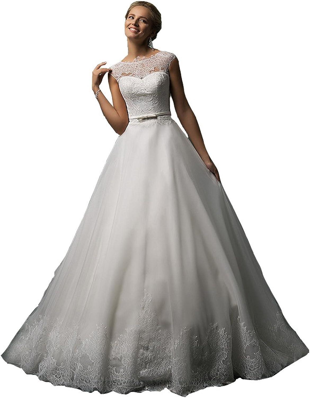 Irenwedding Women's Jewel Sheer Lace Applique Button Church Train Wedding Dress
