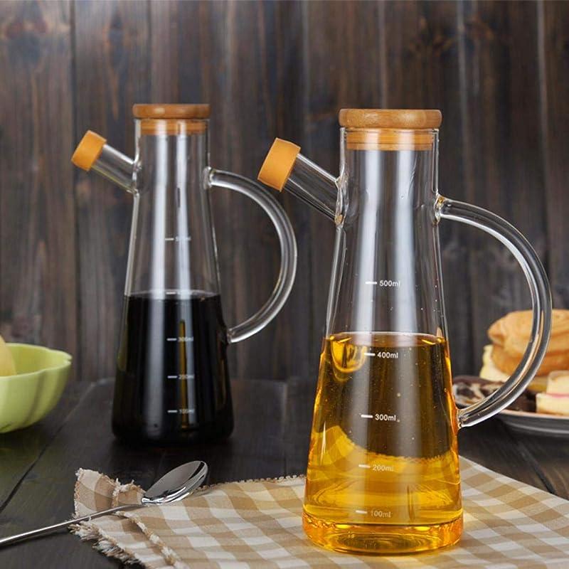 Oil Sauce Dispenser Bottle Multifunctional Practical 500ml High Borosilicate Glass Olive Oil Vinegar Pot Dispenser Bottle Can Cruet Transparent