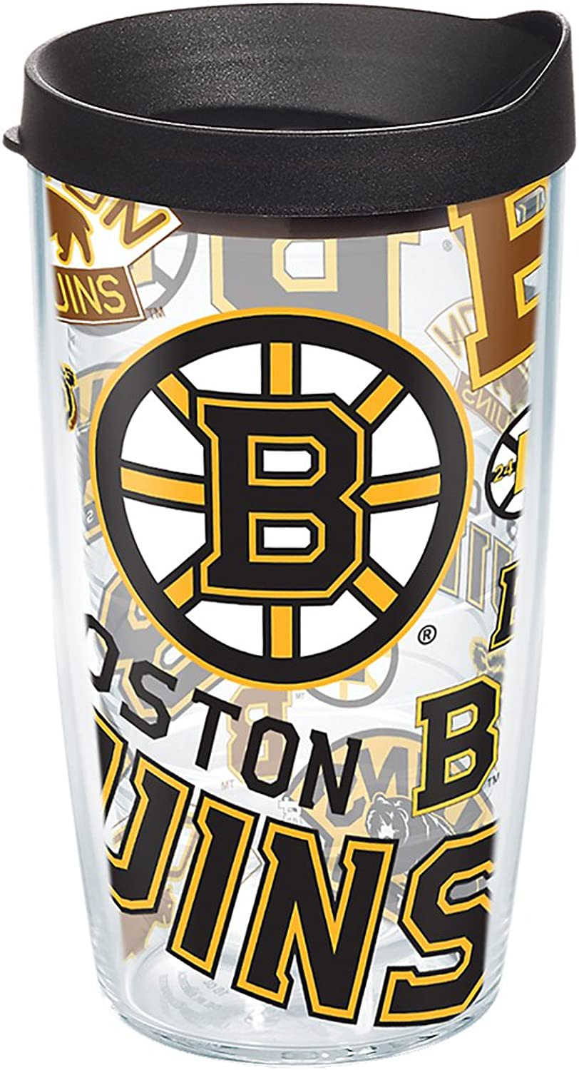 Tervis 1272244 NHL Boston Bruins All Over Tumbler with Wrap and Black Lid 16oz, Clear