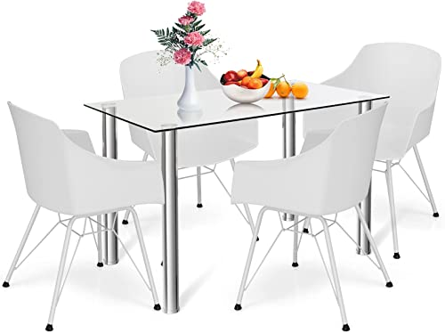lowest Giantex 5-Piece Dining Table Set, Kitchen Table with Tempered Glass Table Top and 4 Chairs, Modern Dining Table & Chairs Set, Dinette Set outlet sale for 4 for Breakfast Dining outlet sale Room Kitchen (White) outlet online sale