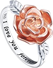 S925 Sterling Silver Rose Flower Love Jewelry Ring Necklace for Women Girl