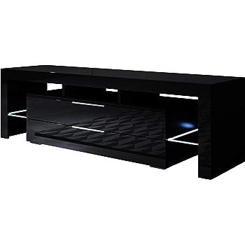 muebles bonitos - Mueble TV Modelo Selma (160x53cm) Color Negro con LED RGB: Amazon.es: Hogar