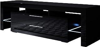 muebles bonitos - Mueble TV Modelo Selma (160x53cm) Color Negro con LED RGB
