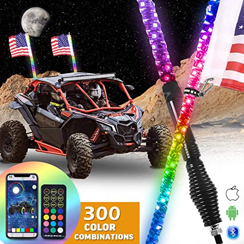 OHMU 2PCS 3FT Spiral RGB Led Whip Lights with Spring Base Chasing Light Bluetooth and RF Remote Control Lighted Antenna Whips for UTV Can am ATV RZR Polaris Dune Buggy Offroad Truck