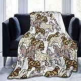 Not Applicable Flannel Throw Blankets,Perros Patrones Floral Terranova Impresión De Perros Manta De Franela para Adultos Gradparents Rest 153x127CM