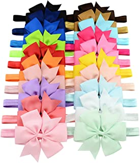 WillingTee 3 Inch Grosgrain Ribbon Hair Bows Headbands for Baby Girls Infants Kids and Toddler 20piece