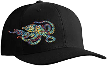 Octopus (Blue Ring) Scuba Diving Fitted Hat Flexfit Cap