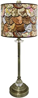 Royal Designs Brushed Nickel Lamp with Vintage World Maps Lamp Shade Multi