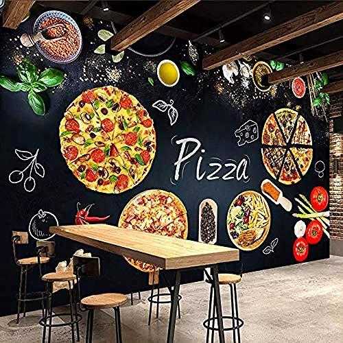 XHXI 3D Murale Carta Da Parati Pittura Murale Negozio di Pizza Personalizzato Lavagna Foto Carta Da Parati Cafe Ris Carta da parati fotomurali poster murale Soggiorno camera letto sfondo-430cm×300cm