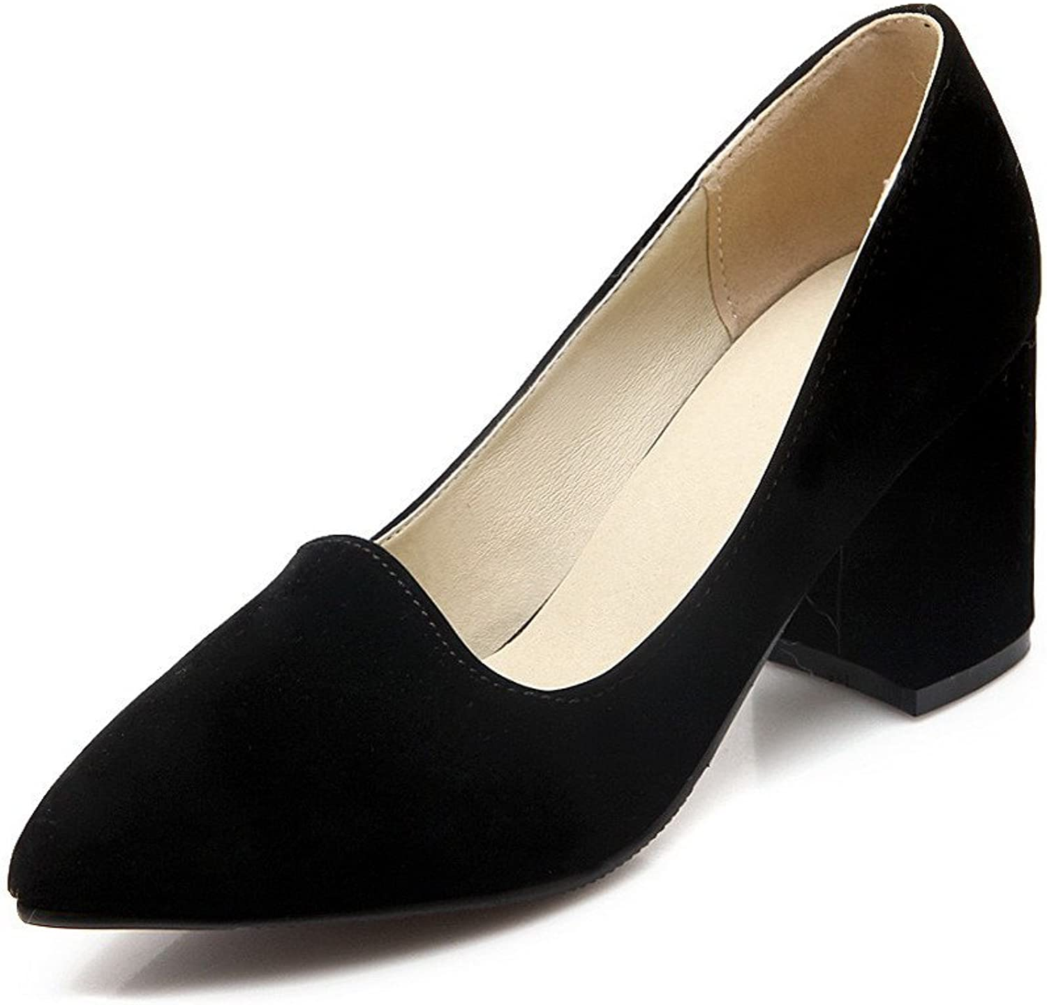 AmoonyFashion Women's Frosted Pointed Closed Toe High-Heels Pull-on Solid Pumps-shoes