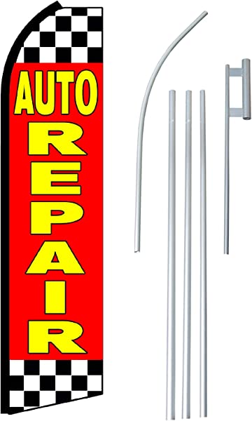 NEOPlex Auto Repair Complete Flag Kit Includes 12 Swooper Feather Business Flag With 15 Foot Anodized Aluminum Flagpole AND Ground Spike