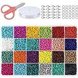 Queta Cuentas de Colores 2mm, 24000pcs Mini Cuentas y Abalorios Cristal para DIY Pulseras Collares Bisutería (24 Colores)