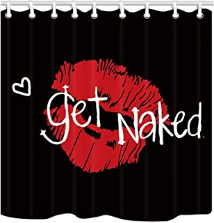 KOTOM Get Naked Shower Curtain, Sexy Red Lip Prints on Black Background, Polyester Fabric Bath Curtains with Hooks 69W X 70L Inches