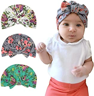 Sunbona Newborn Hat,Toddler Baby Floral Turban Knotted Hat Headwear Soft Cap For New Mother (Gray)