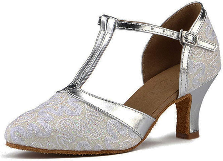 Honeystore Women's Glitter Salsa Latin Lace Prom Mary Jane Ballroom Dance shoes Performance T-Strap