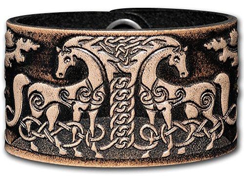 Hoppe & Masztalerz Lederarmband geprägt 40MM aus Vollrindleder Keltische Pferde (11) schwarz-antik mit Druckknopfverschluss (nickelfrei) (19 Zentimeter)