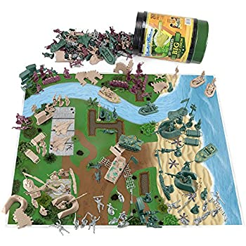 Tiny Troopers Army Men Big Battle Drum Playset  260 pcs  - Deluxe Plastic Toy Military Set Includes Green & Tan Armies of Soldiers WW2 Tanks Jets Walls Helicopters Provisions Playmat & More