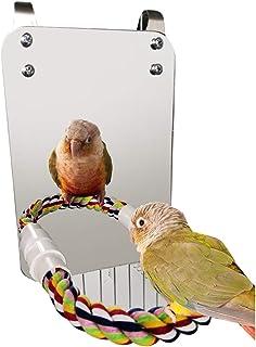 Haokaini Oiseau Miroir Jouet avec Corde Perche Perroquet Morsure Jouet avec Grand Miroir Perroquet Griffe Cage à Oiseaux P...