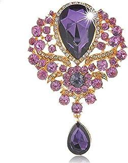 Reizteko Wedding Bridal Big Crystal Rhinestone Bouquet Brooch Pin for Women (Purple)