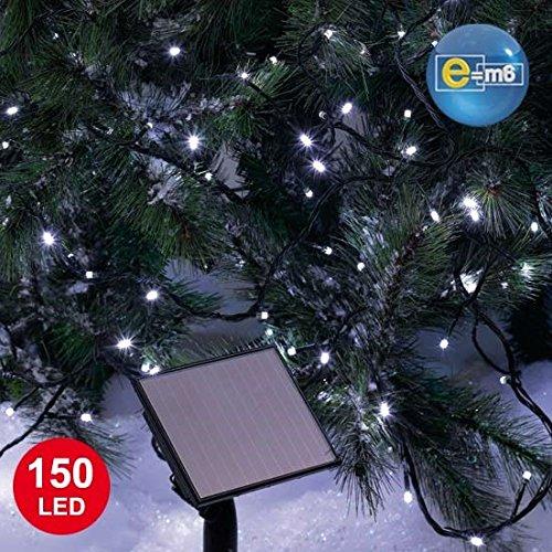 E=M6 5SOL113BC Guirlande Solaire 150 LED, Plastique, Blanc