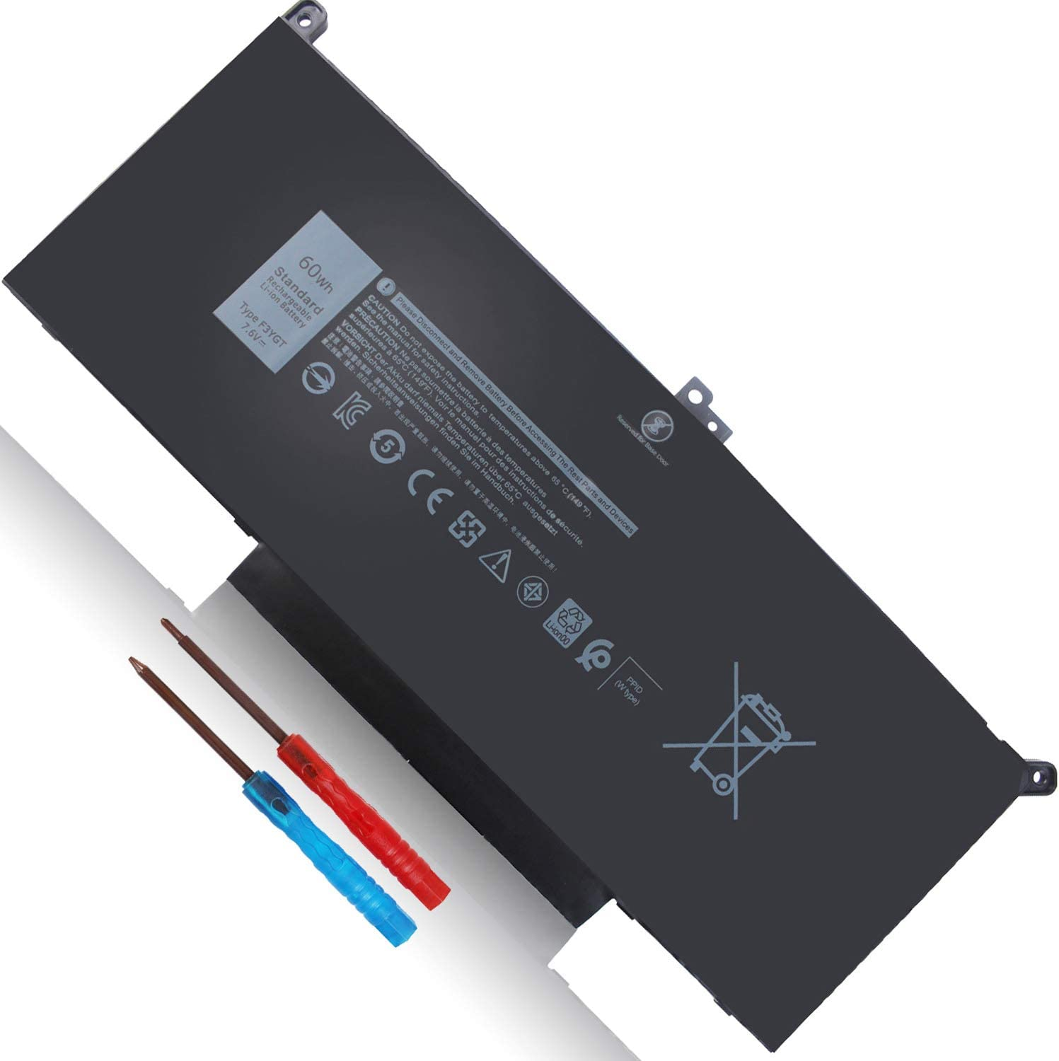 60Wh Type F3YGT DM3WC Battery Replacement for Dell Latitude 7480 7490 7280 7290 7380 7390 2X39G DM6WC 451-BBYE 453-BBCF KG7VF P73G001 P73G002 P28S001 P28S002 P28S P73G 7.6V 4-Cell