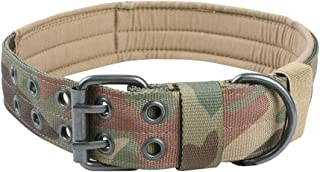 EXCELLENT ELITE SPANKER Nylon Tactical Dog Collar Military Adjustable Training Dog Collar with Double Metal D Ring Buckle