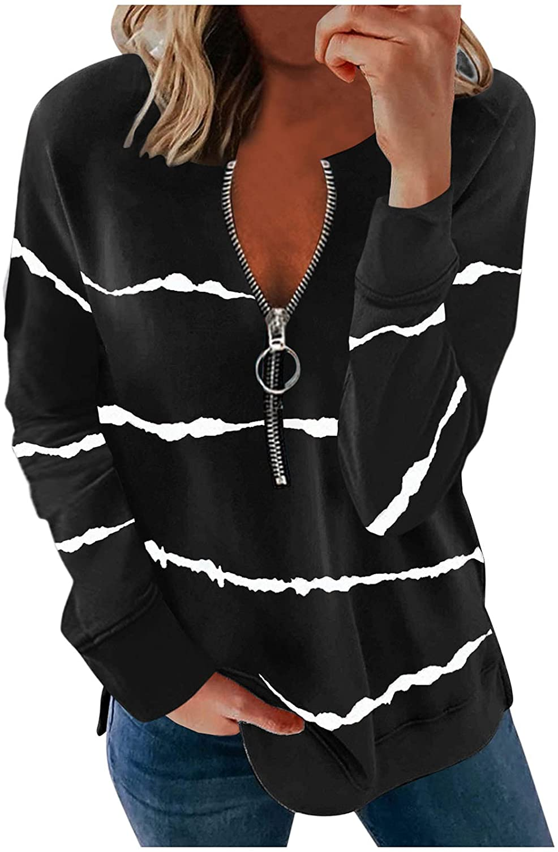 Sweatshirts, Women Zip up Hoodies Long Sleeves Stripe Print Pullover with Design Casual Loose Tunic Tops Sweatshirts