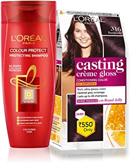 L'Oreal Paris Casting Creme Gloss Hair Color (Burgundy 316) & Color Protect Shampoo, 87.5g + 72ml and 192ml(352ml) (Pack of 2)